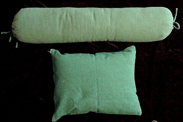 Pillow/Bolster Set -  Green Chenille