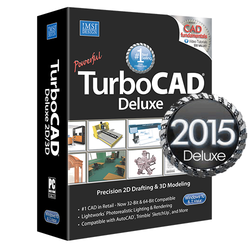 Turbocad deluxe 2015 2d cad design software 3d modeling for Online 2d drafting software