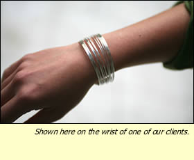 The Chai Bracelet shown on one of our clients