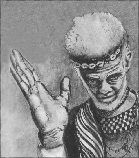 Drawing of the Obeah Man, raising his right hand