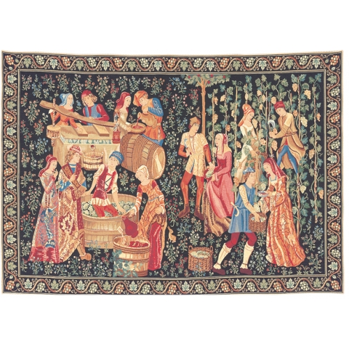 Medieval Tapestry Wall Hanging The Vintage - Grape Gathering Scene, 39in x 56in
