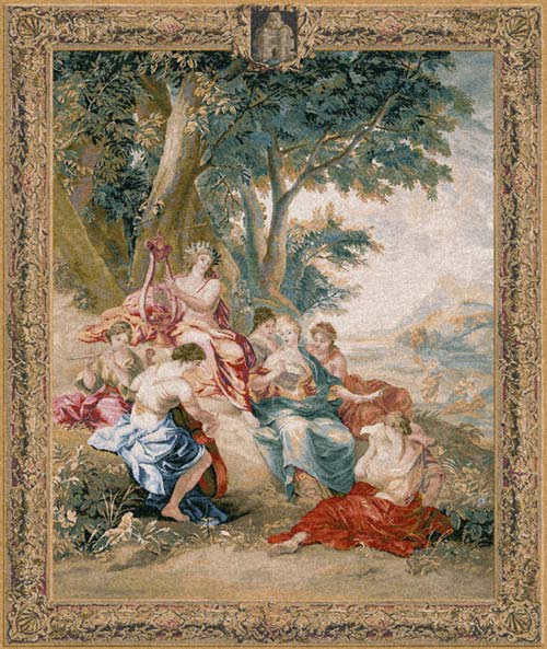 Mythological Picture Tapestry Apollo God And Muses, 83in x 69in