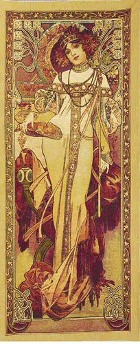 Large Tapestry Autumn By Alphonse Mucha - Four Seasons Mucha Reproduction, 29in X 65in