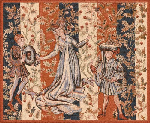 Ball Of Roses / Baille Des Roses Medieval Tapestry, 30in X 36in
