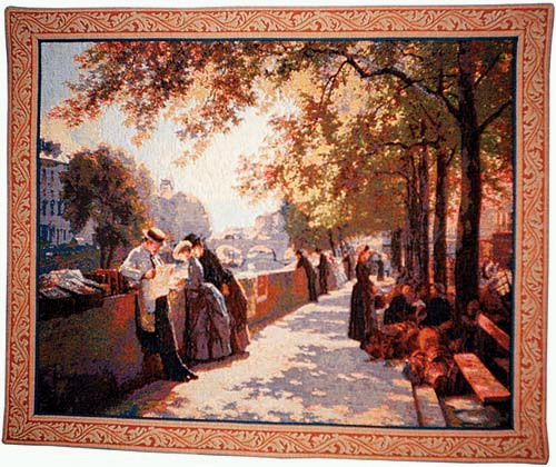 Wall Tapestry Painting Bank Of The River Seine - Paris City Picture, 32in X 39in