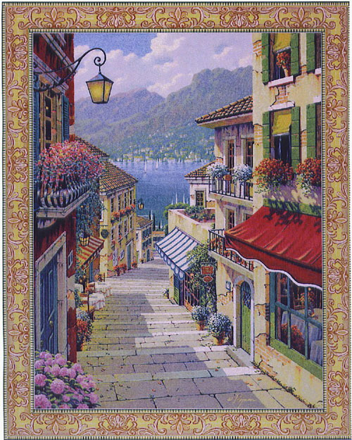 Bellagio Village Tapestry European Seascape Picture, 47in x 38in