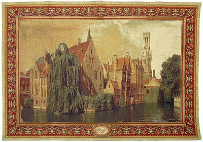 Belgian Tapestry Wall Hanging Brugge City Picture, 54in X 76in