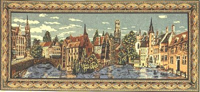 Belgian Tapestry Wall Hanging Brugge City Picture, 28in X 61in