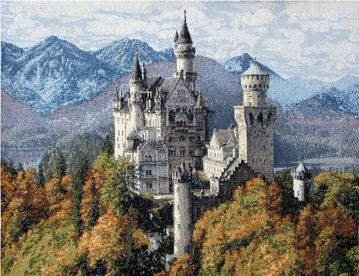 Castle Tapestry - Medieval Picture Of The Neuschwanstein Castle, 18.5in X 24in