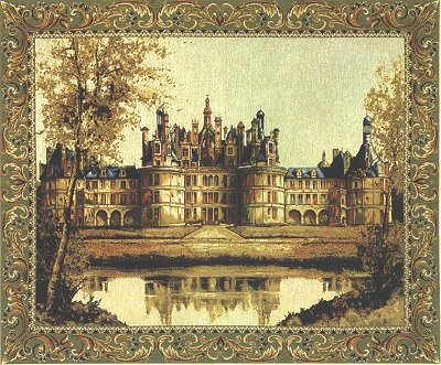 Medieval Tapestry Wall Hanging Chambord Castle Picture, 14in x 19in