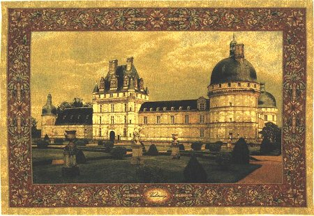 Belgian Large Medieval Tapestry Chateau Valencay Castle Scene, 56in X 80in