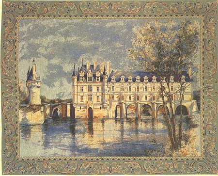 Medieval Tapestry Wall Hanging Chenonceau Castle Picture, 14in x 19in
