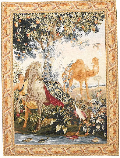 French Horse Tapestry Wall Hanging Cheval Drape, 78in x 58in