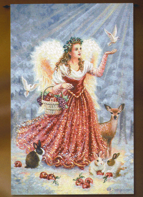 Christmas Decor Idea - Christmas Angel Tapestry Wall Hanging, 53in X 35in