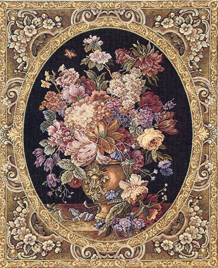 Italian Tapestry Floral Composition Flowers Still Life, 15in X 12in