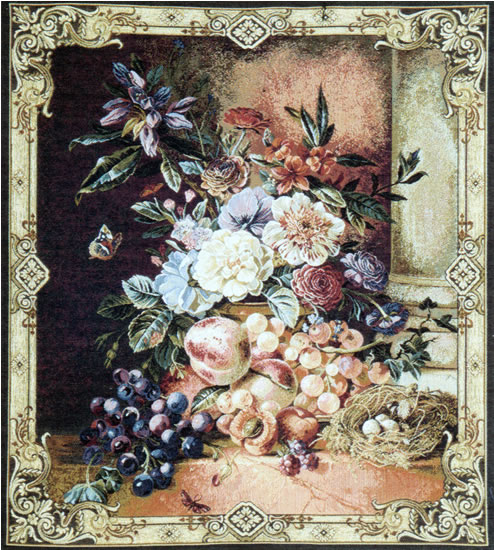 Italian Floral Tapestry Fiori E Frutta - Flowers & Fruits Floral Composition, 29in X 24in