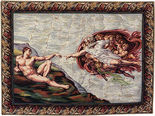 Creation By Michelangelo Wall Tapestry Painting - Full Version, 34in X 46in