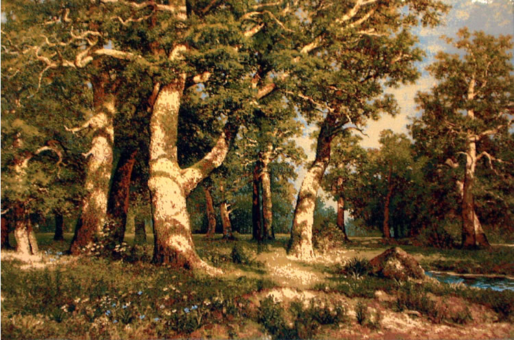 Landscape Wall Tapestry Oak Wood From A Painting By Shishkin, 28in X 43in