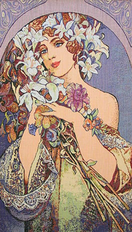 Mucha Tapestry Fleur - Art Nouveau Painting Reproduction