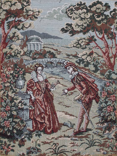 Medieval Wall Tapestry Romantic Scene In The Garden, Man & Lady, 11.2in X 14.4in