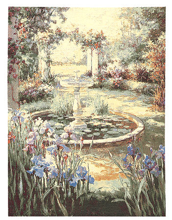 Landscape Tapestry Wall Hanging - Beautiful Garden Scene With Fountain, 37in X 28in