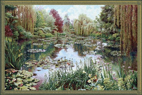Impressionist Tapestry Gardens At Giverny - Claude Monet Painting Reproduction, 25in X 40in
