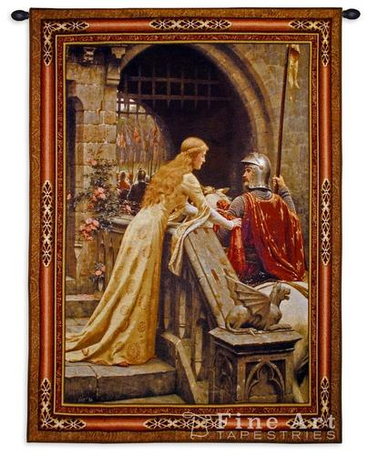 The Godspeed Painting Medieval Tapestry Wall Hanging - Romantic Pictures by Leighton, 53in x 76in