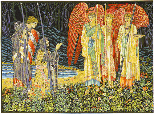 Medieval Knight Tapestry Picture - The Vision Scene From The Holy Grail Tales (1), 57in x 73in