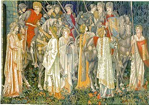 Arthurian Medieval Tapestry The Quest for the Holy Grail - Knight Medieval Pictures, 54in x 80in