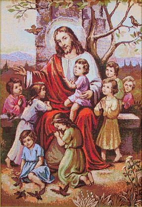 Religious Tapestry Jesus & Kids - Christian Picture, 16in X 23in