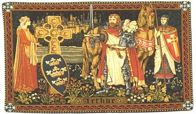 Medieval Tapestry KING ARTHUR, Knights, Sword (One Of Our Best Medieval Tapestries)