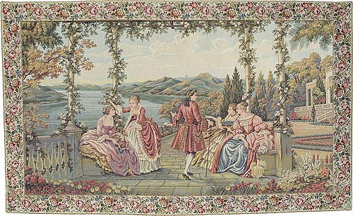 Ladies At Lake Como Romantic Pastoral Scene Tapesty, 39in X 66in