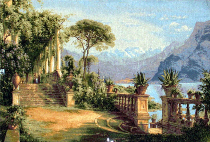 Large Belgian Tapestry Lodge At Lake Como - Mediterranean Landscape Looks Great As A Framed Picture, 43in X 30in