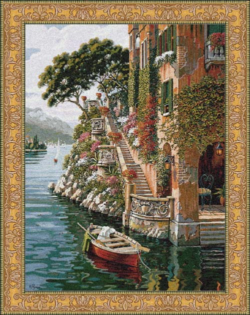 VILLA AT LAKE COMO TAPESTRY Mediterranean Seascape View, 48in x 36in