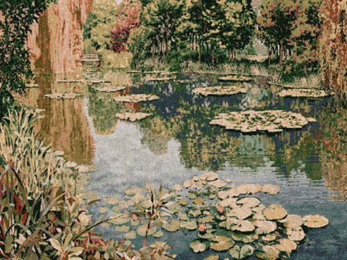 Impressionist Tapestry Pond At Giverny - Claude Monet Painting Reproduction, 30in X 39in