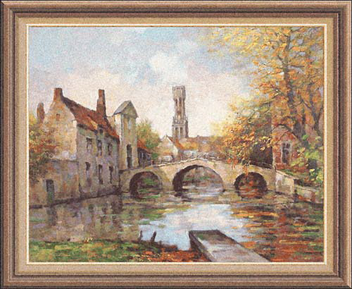 The Lake Of Love Tapestry - Romantic Place In Brugge - European City Picture, 51in X 56in