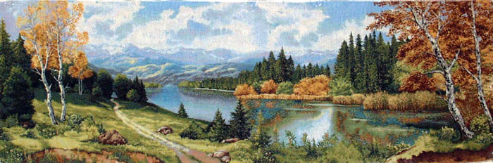 Belgian Tapestry Wall Hanging Landscape River In Forest, 60in X 20in