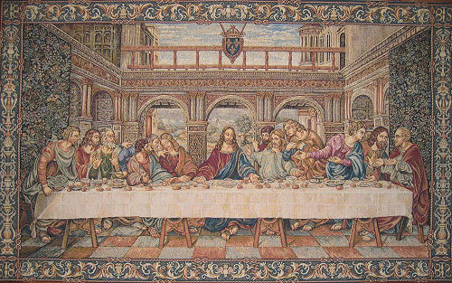 Religious Christian Wall Tapestry The Last Supper By Da Vinci, 24in X 60in