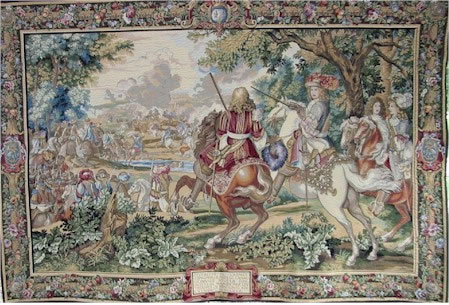 RENAISSANCE TAPESTRY WALL HANGING - LE ROI SOLEIL / King Louis XIV, 39in x 62in