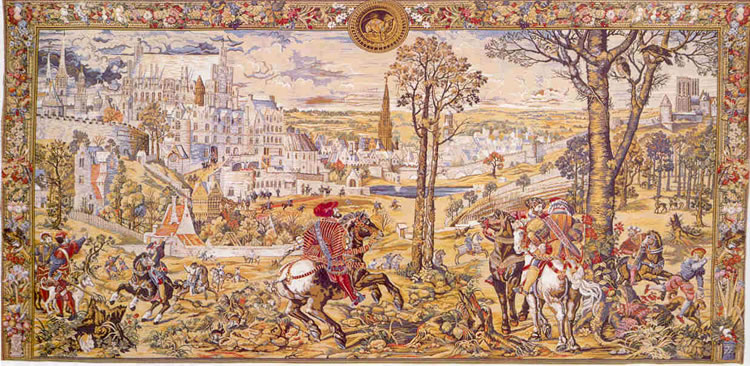 WALL TAPESTRY MEDIEVAL BRUSSELS MAXIMILIAN HUNTER HORSE
