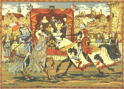 Medieval Tapestry MEDIEVAL TOURNAMENT, Picture of Knight Riders, 19in x 27in