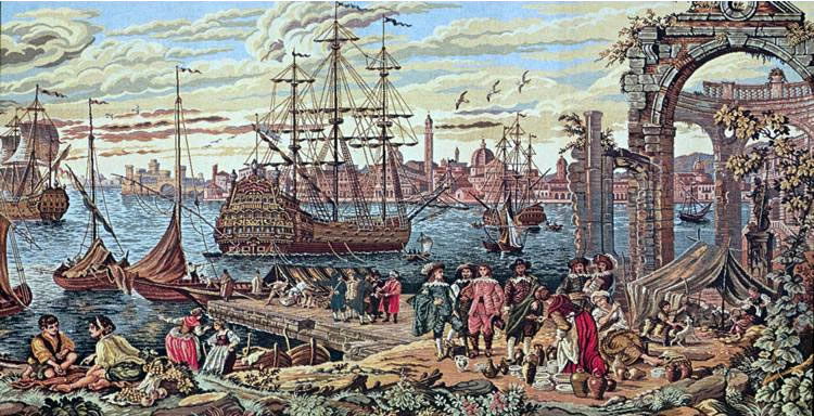 Large Medieval Tapestry Old Italian Port (From A Painting by Guardi Francesco), 46in x 66in