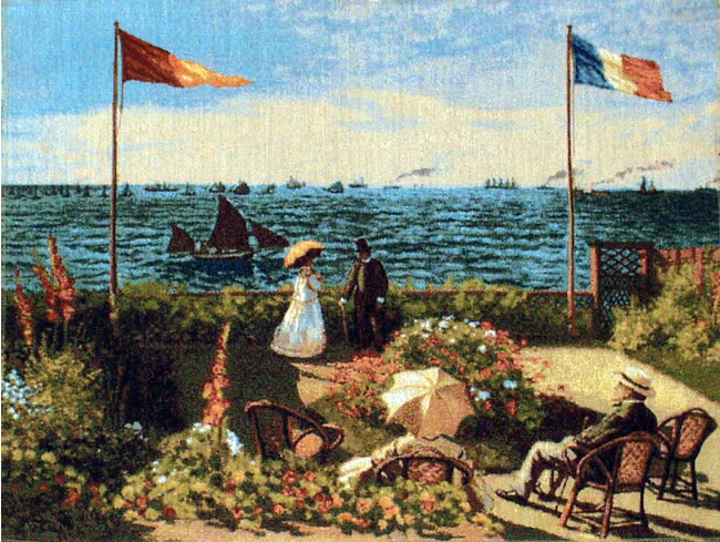 Belgian Wall Tapestry Terrace At Saint-Adresse From A Painting By Claude Monet, 20in X 26in