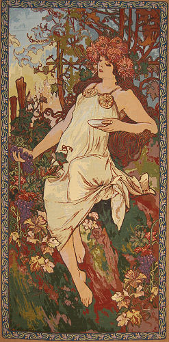 Mucha Tapestry Fall - Four Seasons By Alphonse Mucha Painting Reproduction, 26in X 54in