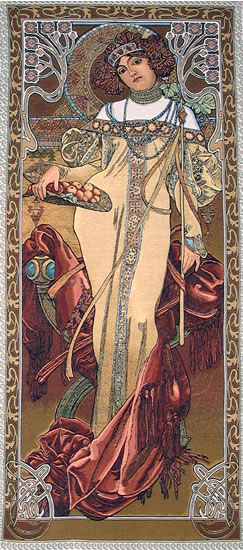 Wall Tapestry Autumn By Alphonse Mucha - Four Seasons Mucha Reproduction, 19in X 45in