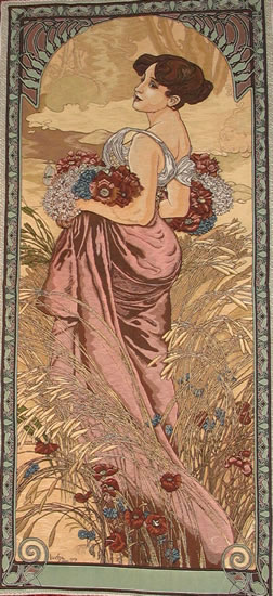 Large Tapestry Summer By Alphonse Mucha - Four Seasons Mucha Reproduction, 19in X 45in