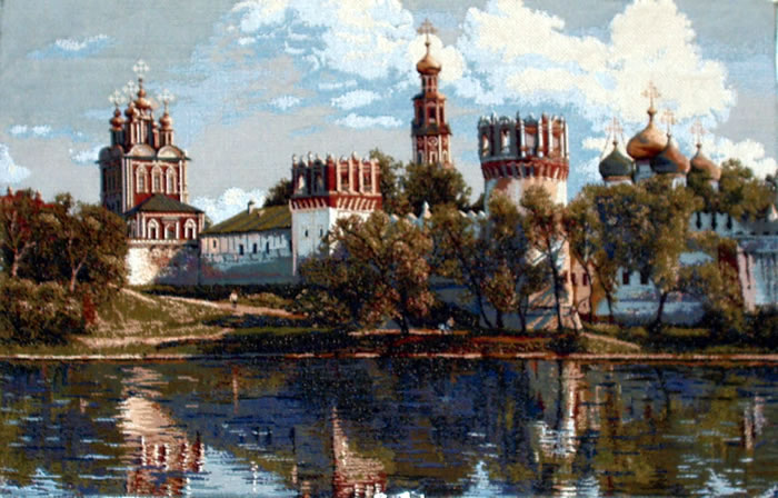 Religious Wall Tapestry Russian Orthodox Church Picture: The Novodevichiy Convent, 20in X 31in