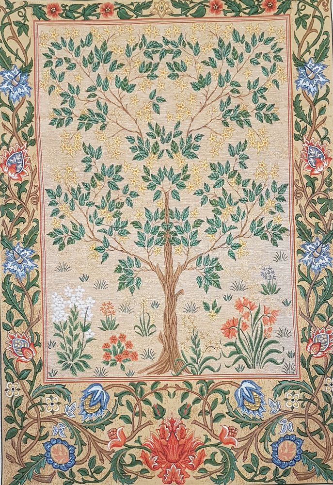 Tree Of Life Beige III Olivia Tapestry Wall Hanging, H44in x W28in