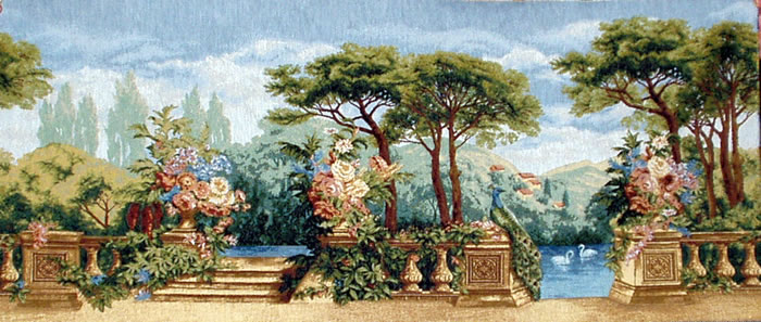 Beautiful Garden Picture Tapestry Wall Hanging - Paradise Scene with Swans in a Pond