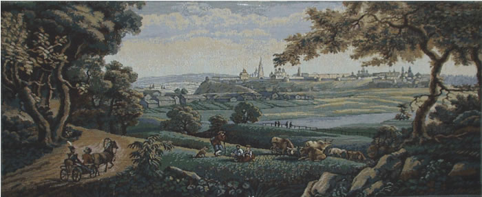Pastoral Wall Tapestry: The French Countryside - Medieval Peasant Picture, 40in X 16in